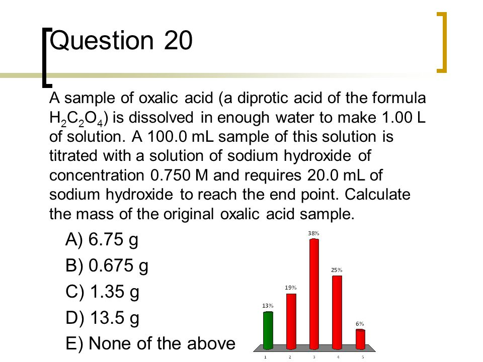 Question 20 A sample of oxalic acid (a diprotic acid of the formula H2C2O4) is dissolved in enough water to make 1.00 L of solution. A 100.0 mL sample of this solution is titrated with a solution of sodium hydroxide of concentration 0.750 M and requires 20.0 mL of sodium hydroxide to reach the end point. Calculate the mass of the original oxalic acid sample.