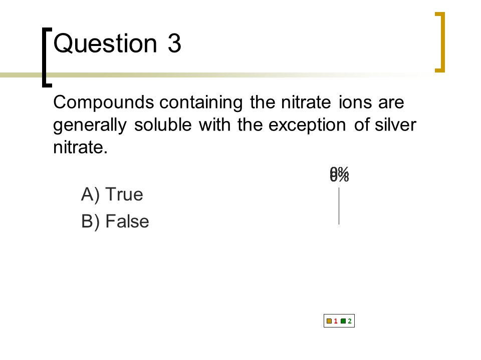 Question 3 Compounds containing the nitrate ions are generally soluble with the exception of silver nitrate.