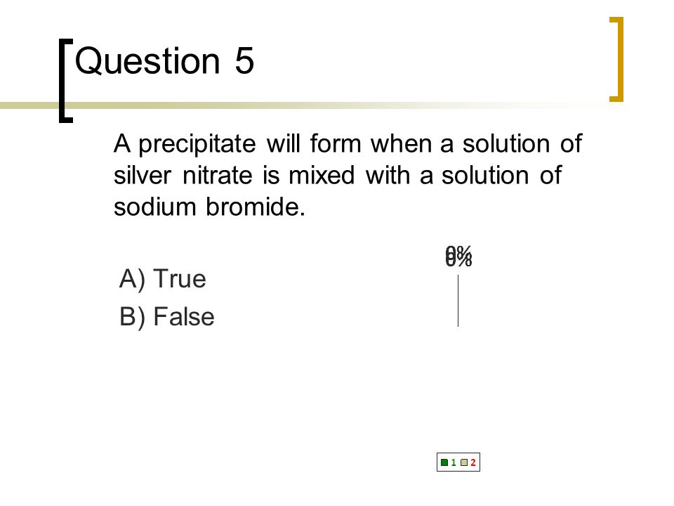 Question 5 A precipitate will form when a solution of silver nitrate is mixed with a solution of sodium bromide.