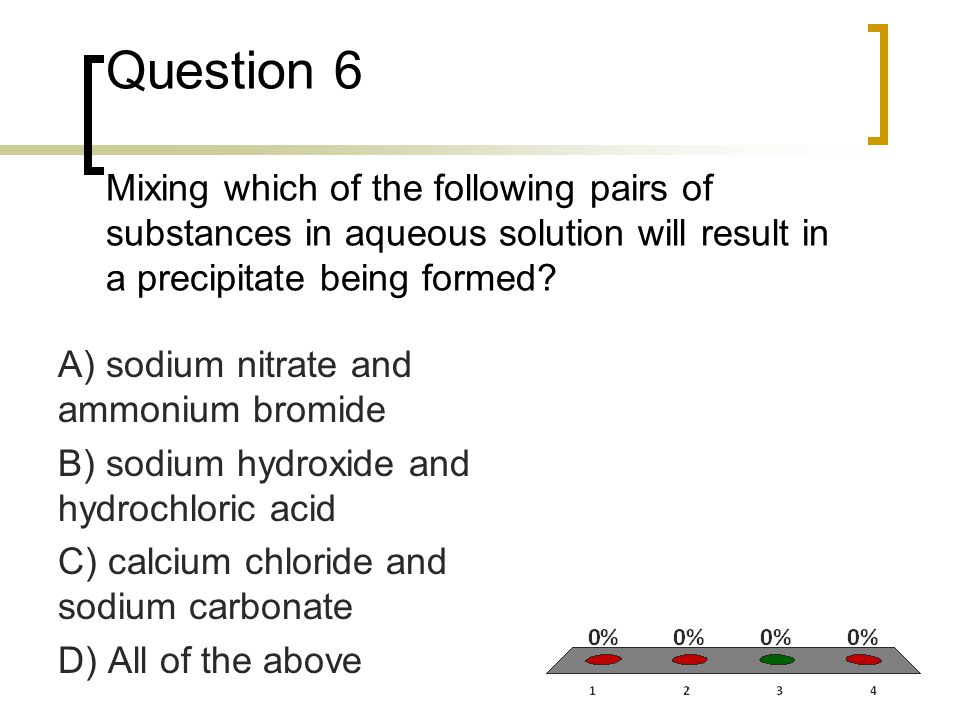 Question 6 Mixing which of the following pairs of substances in aqueous solution will result in a precipitate being formed