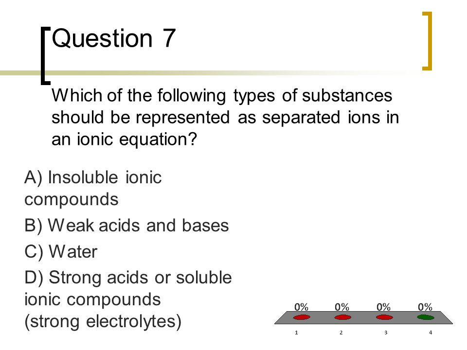 Question 7 Which of the following types of substances should be represented as separated ions in an ionic equation