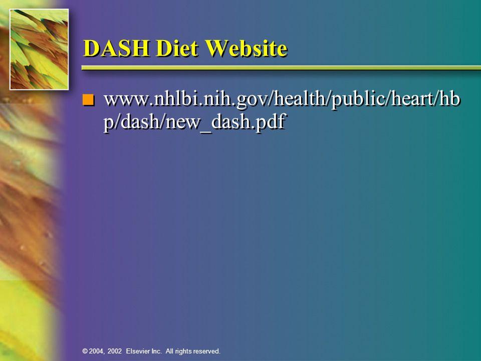 DASH Diet Website www.nhlbi.nih.gov/health/public/heart/hb p/dash/new_dash.pdf