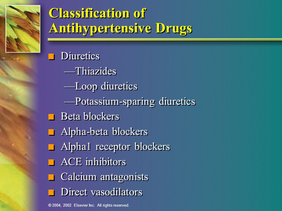 Classification of Antihypertensive Drugs
