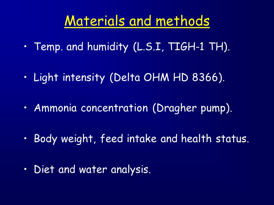 Materials and methods Temp. and humidity (L.S.I, TIGH-1 TH).