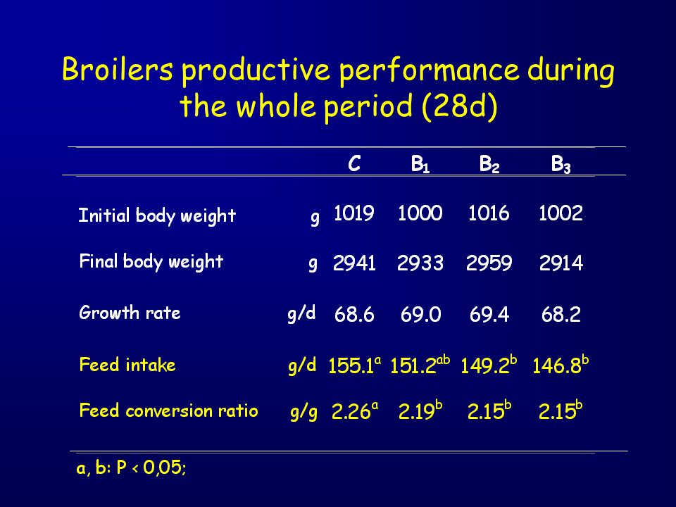 Broilers productive performance during the whole period (28d)