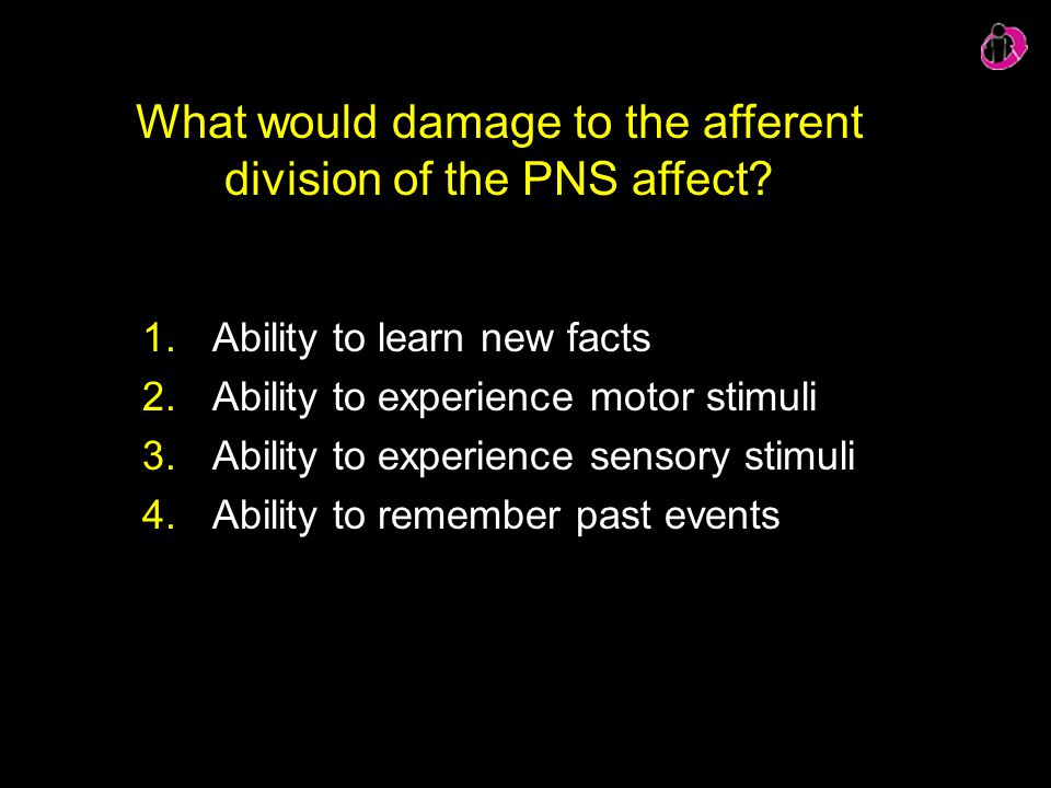 What would damage to the afferent division of the PNS affect