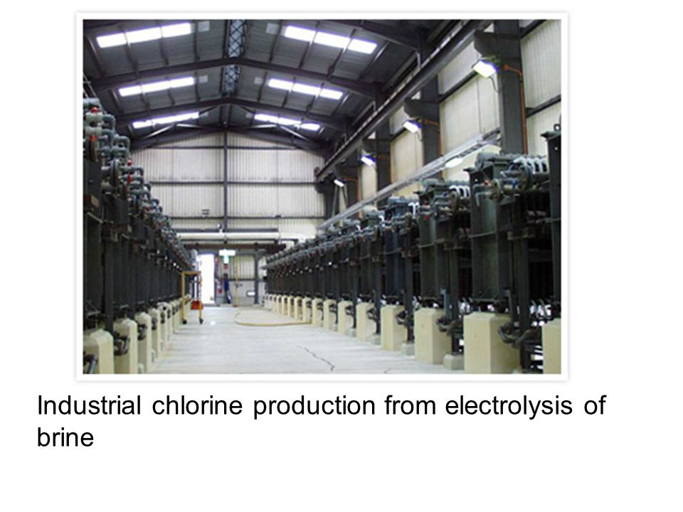 Industrial chlorine production from electrolysis of brine