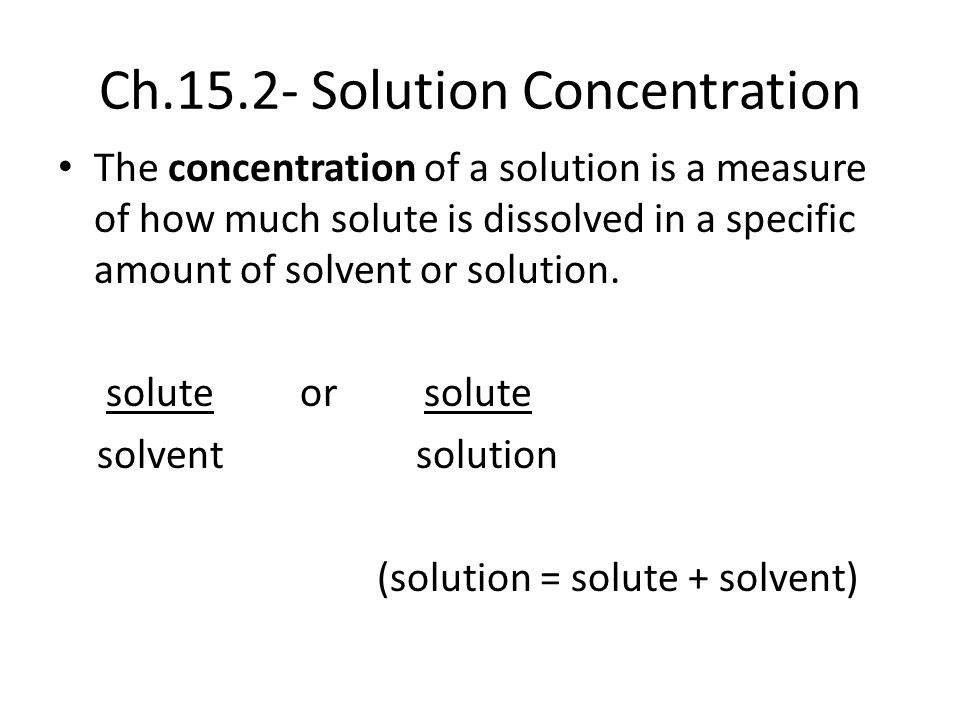 Ch Solution Concentration