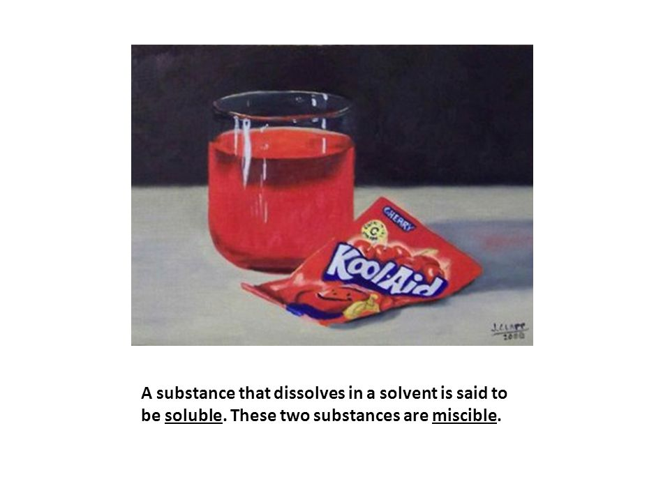 A substance that dissolves in a solvent is said to be soluble