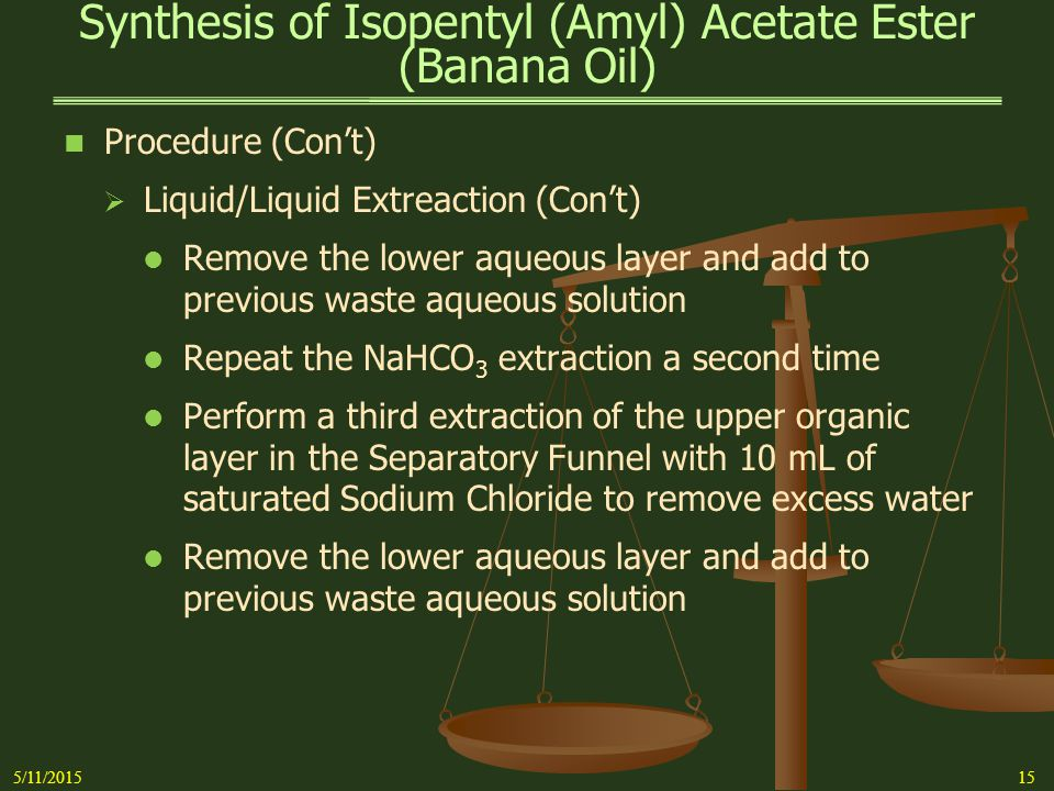 Synthesis of Isopentyl (Amyl) Acetate Ester (Banana Oil)