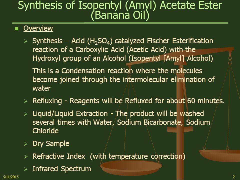 a lab experiment to yield isomyl acetate from the reaction of acetic acid and isomyl alcohol A lab experiment to determine the identity of an unknown amino acid 1,634 words 4 pages.