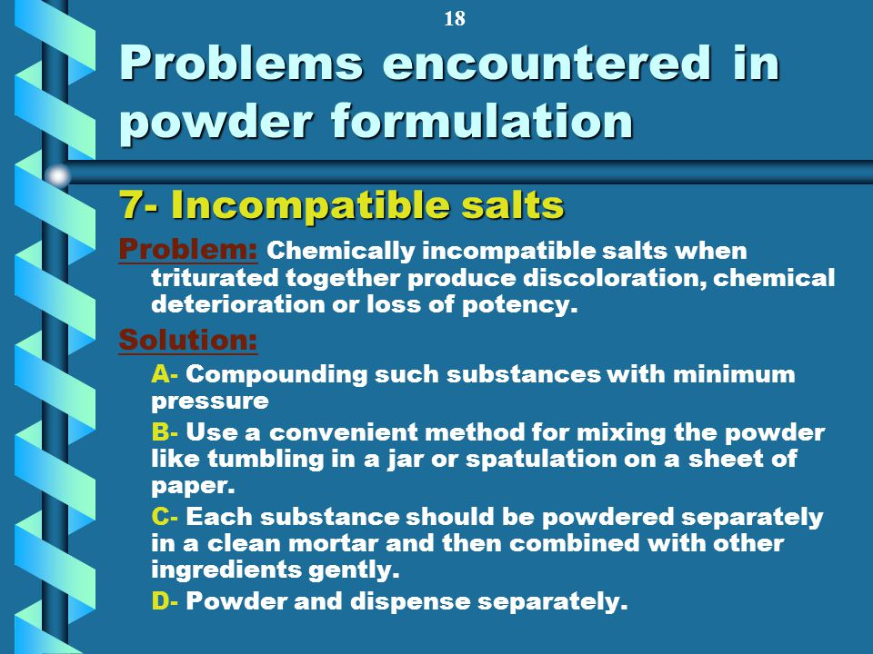 Problems encountered in powder formulation