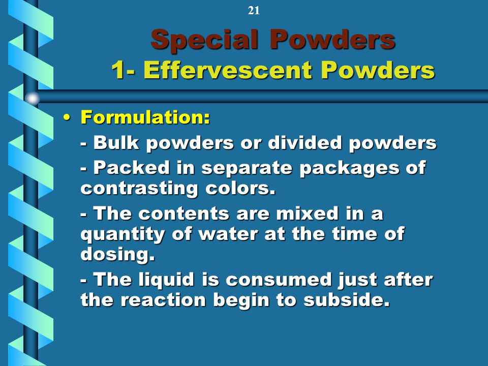 Special Powders 1- Effervescent Powders