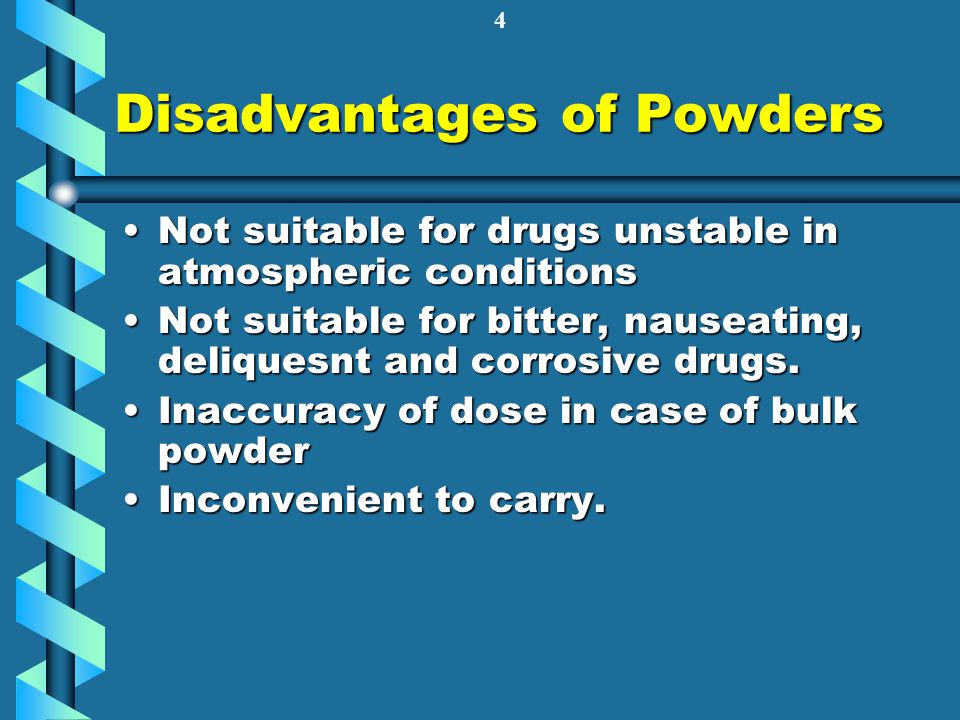 Disadvantages of Powders
