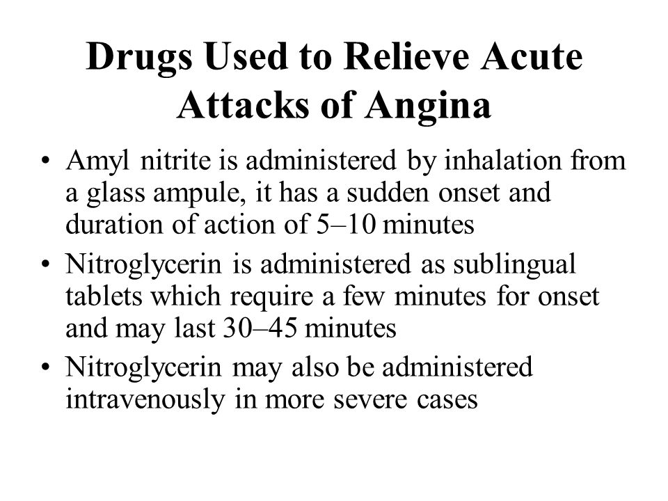 Drugs Used to Relieve Acute Attacks of Angina