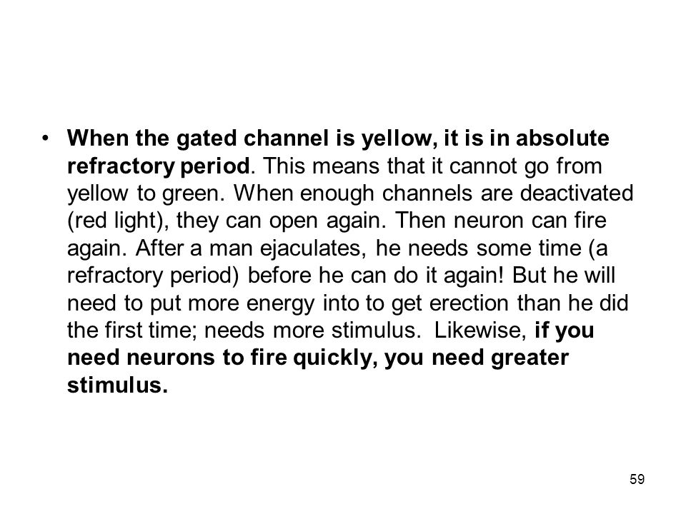 When the gated channel is yellow, it is in absolute refractory period