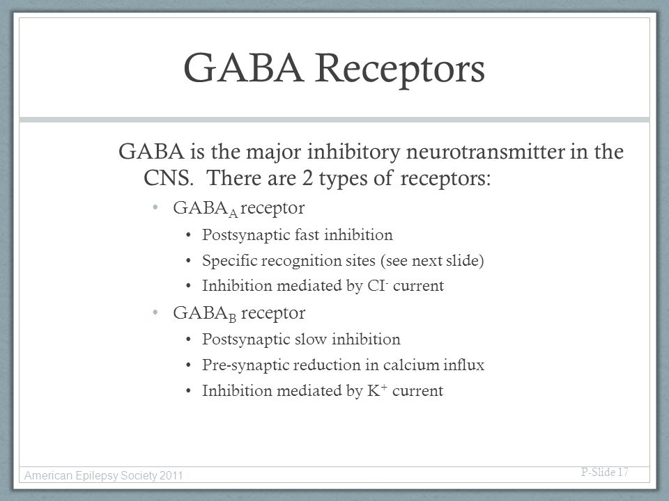 GABA Receptors GABA is the major inhibitory neurotransmitter in the CNS. There are 2 types of receptors: