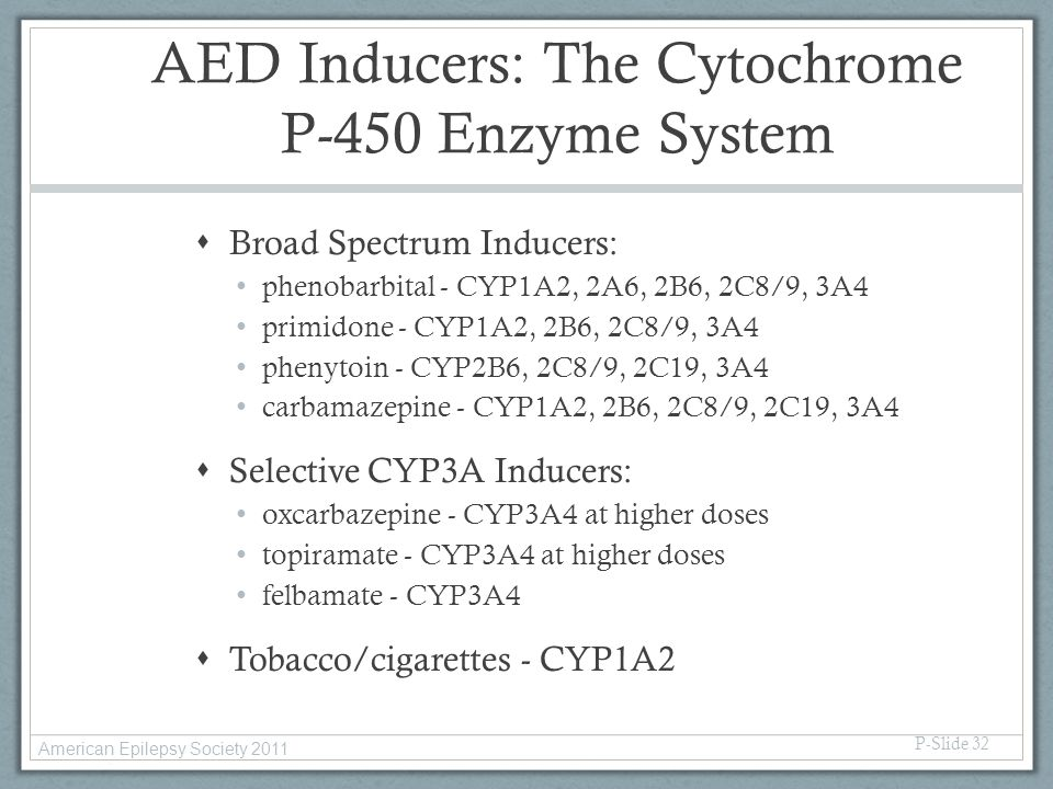 AED Inducers: The Cytochrome P-450 Enzyme System