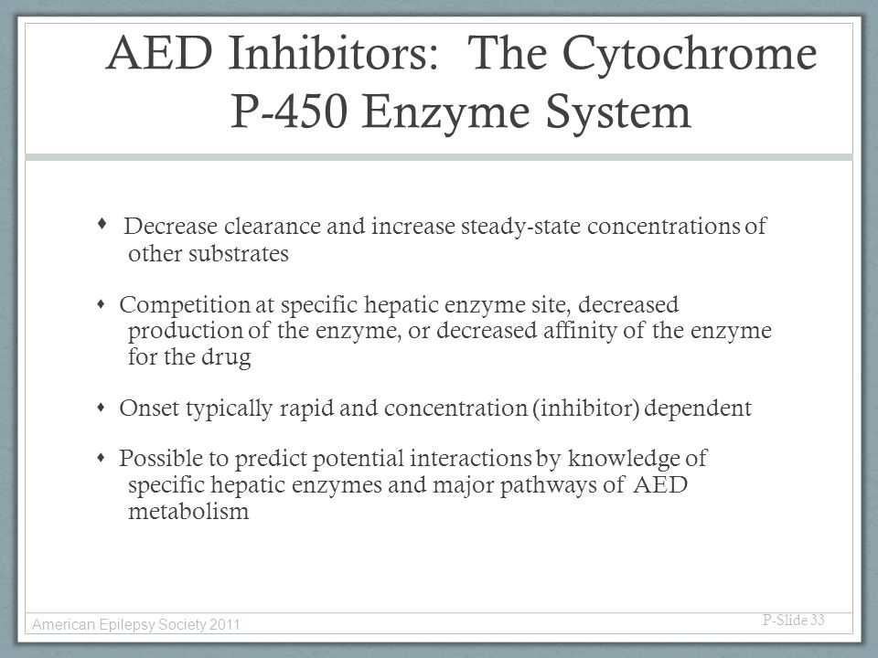 AED Inhibitors: The Cytochrome P-450 Enzyme System