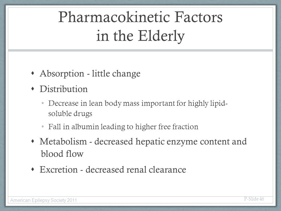 Pharmacokinetic Factors in the Elderly