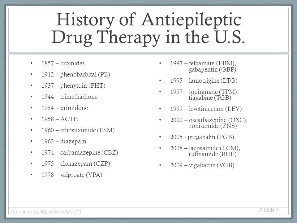 History of Antiepileptic Drug Therapy in the U.S.