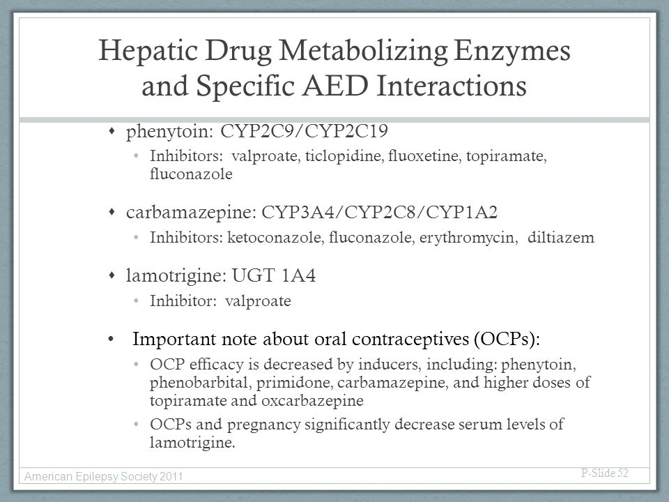 Hepatic Drug Metabolizing Enzymes and Specific AED Interactions
