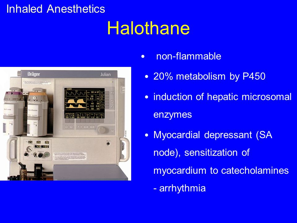 Halothane Inhaled Anesthetics non-flammable 20% metabolism by P450