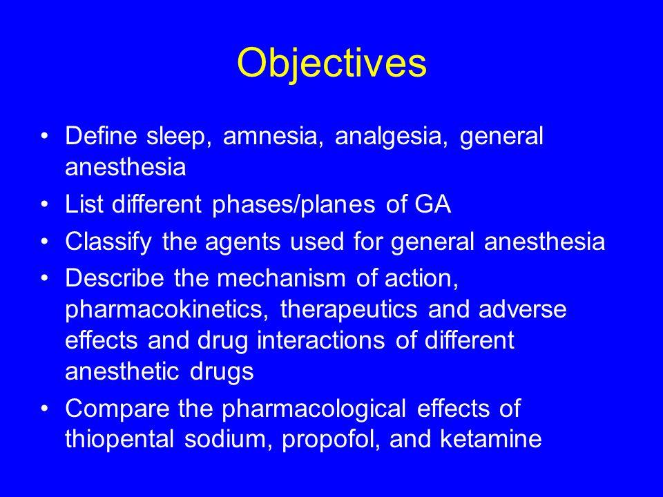 Objectives Define sleep, amnesia, analgesia, general anesthesia