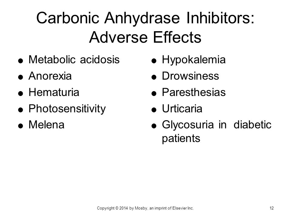 Carbonic Anhydrase Inhibitors: Adverse Effects