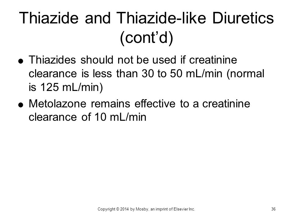 Thiazide and Thiazide-like Diuretics (cont'd)