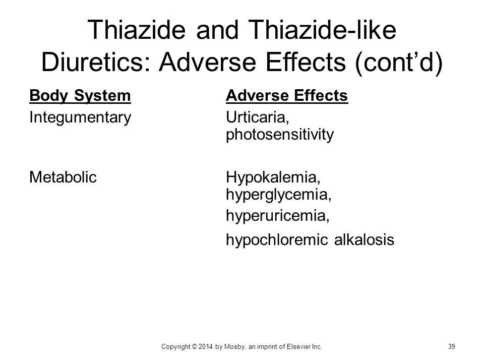 Thiazide and Thiazide-like Diuretics: Adverse Effects (cont'd)