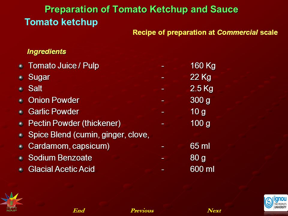 Preparation of Tomato Ketchup and Sauce