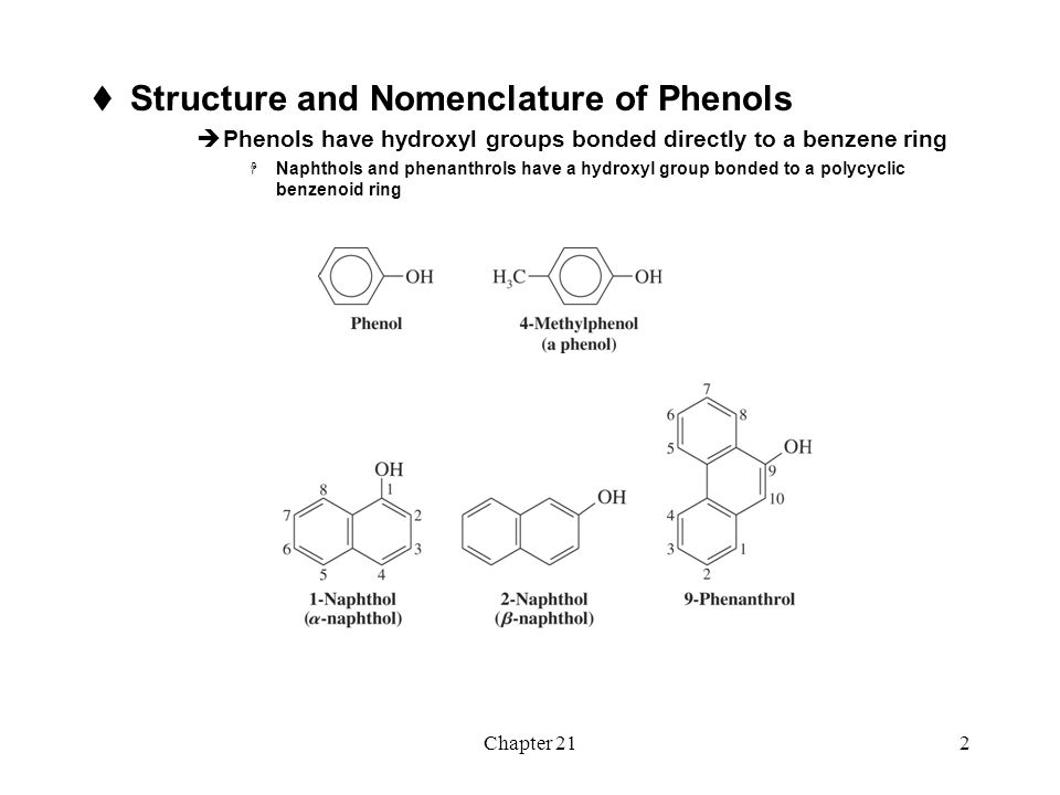 Structure and Nomenclature of Phenols