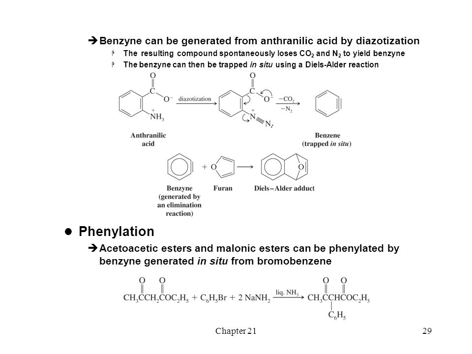 Benzyne can be generated from anthranilic acid by diazotization