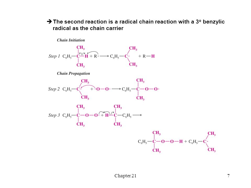 The second reaction is a radical chain reaction with a 3o benzylic radical as the chain carrier
