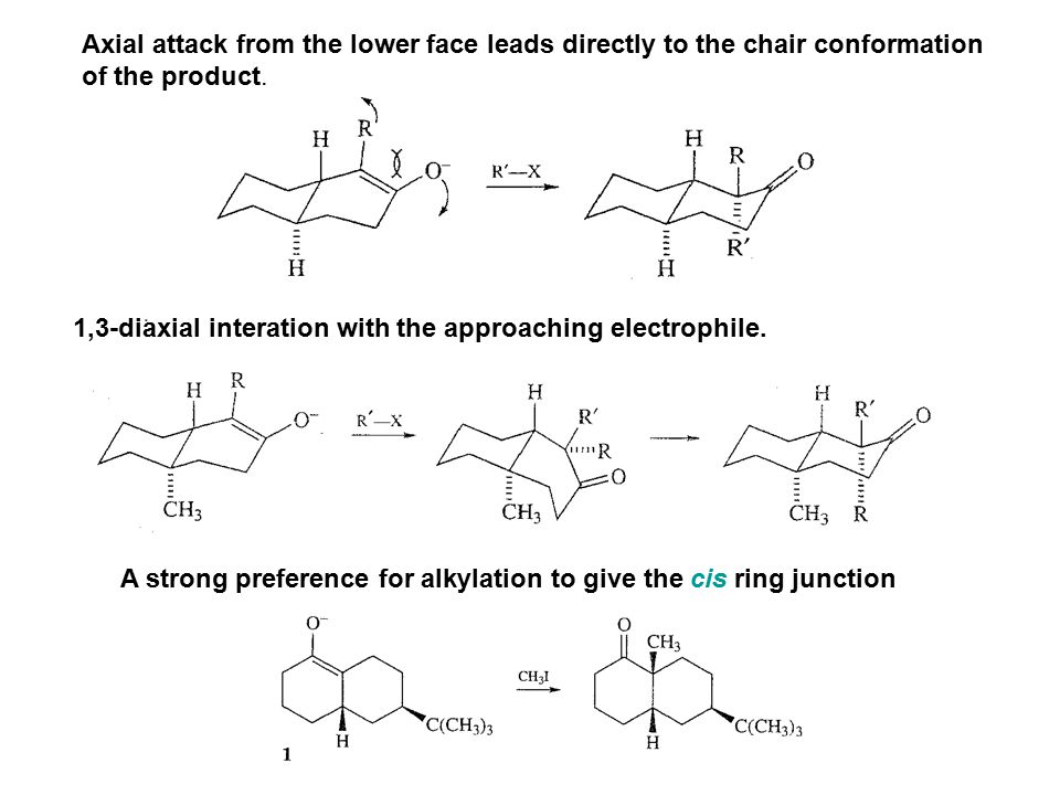 Axial attack from the lower face leads directly to the chair conformation
