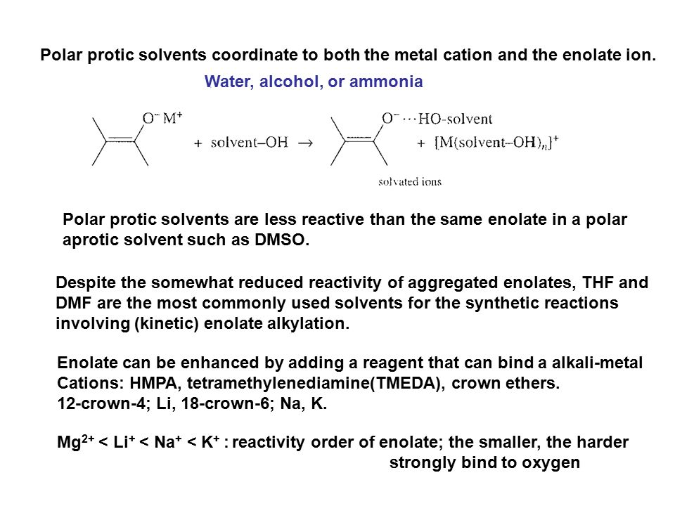 Polar protic solvents coordinate to both the metal cation and the enolate ion.