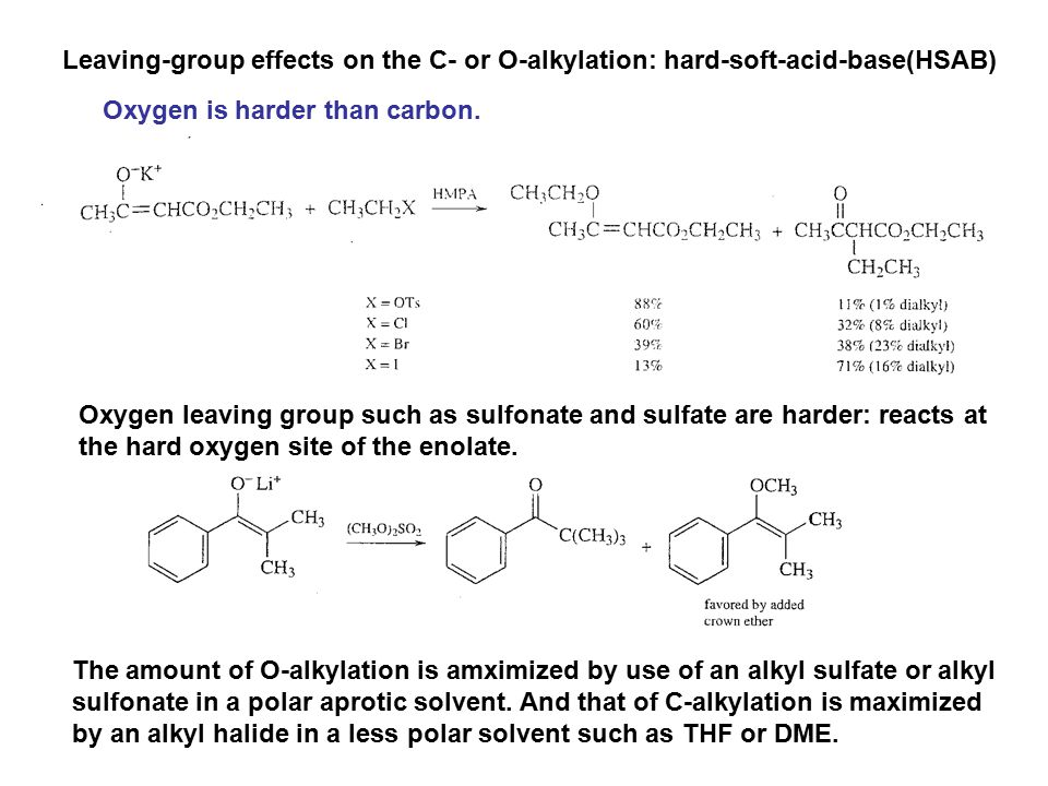Leaving-group effects on the C- or O-alkylation: hard-soft-acid-base(HSAB)