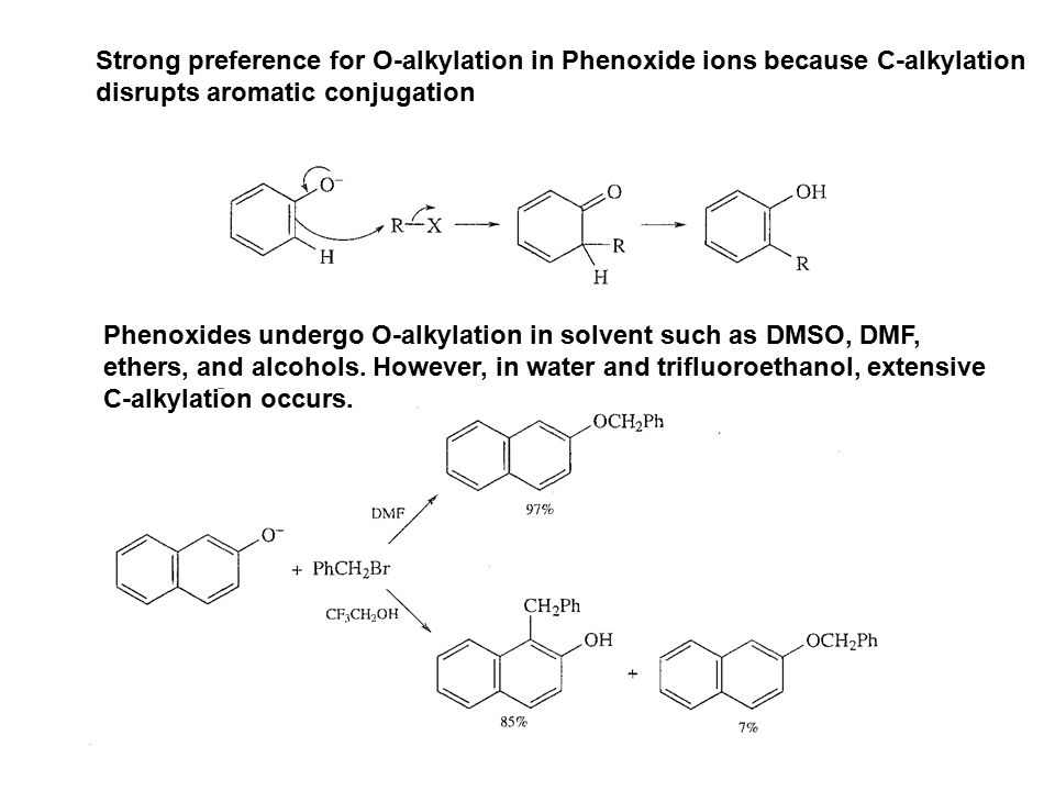 Strong preference for O-alkylation in Phenoxide ions because C-alkylation