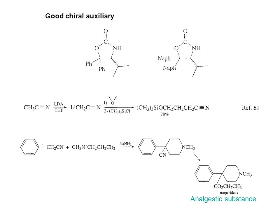 Good chiral auxiliary Analgestic substance