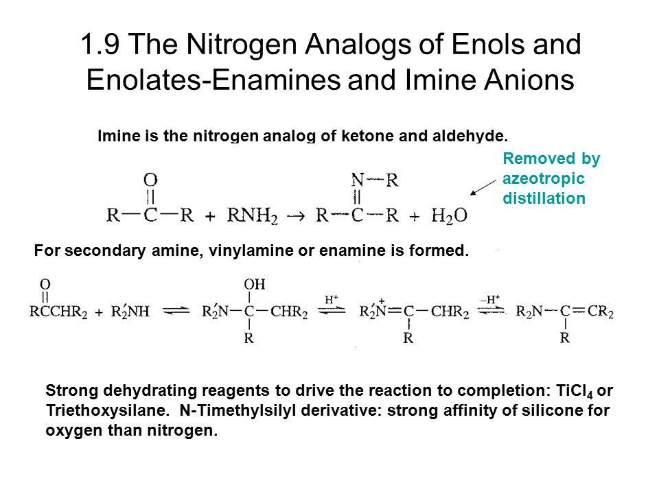 1.9 The Nitrogen Analogs of Enols and Enolates-Enamines and Imine Anions