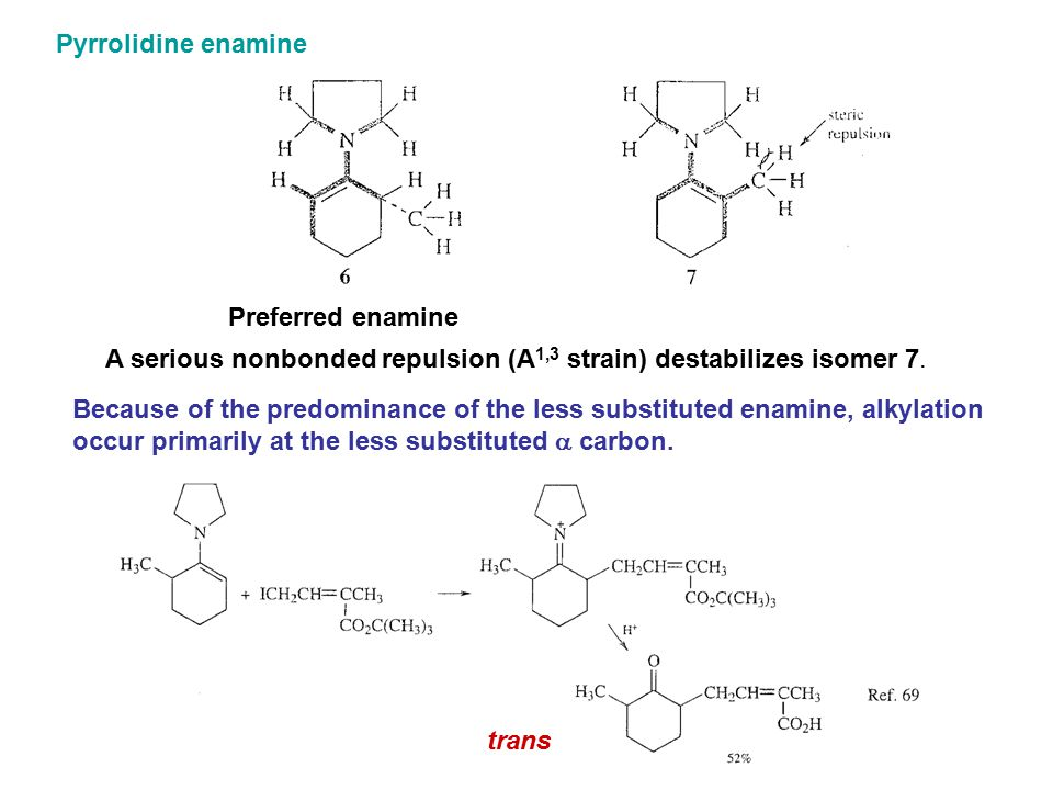Pyrrolidine enamine Preferred enamine. A serious nonbonded repulsion (A1,3 strain) destabilizes isomer 7.