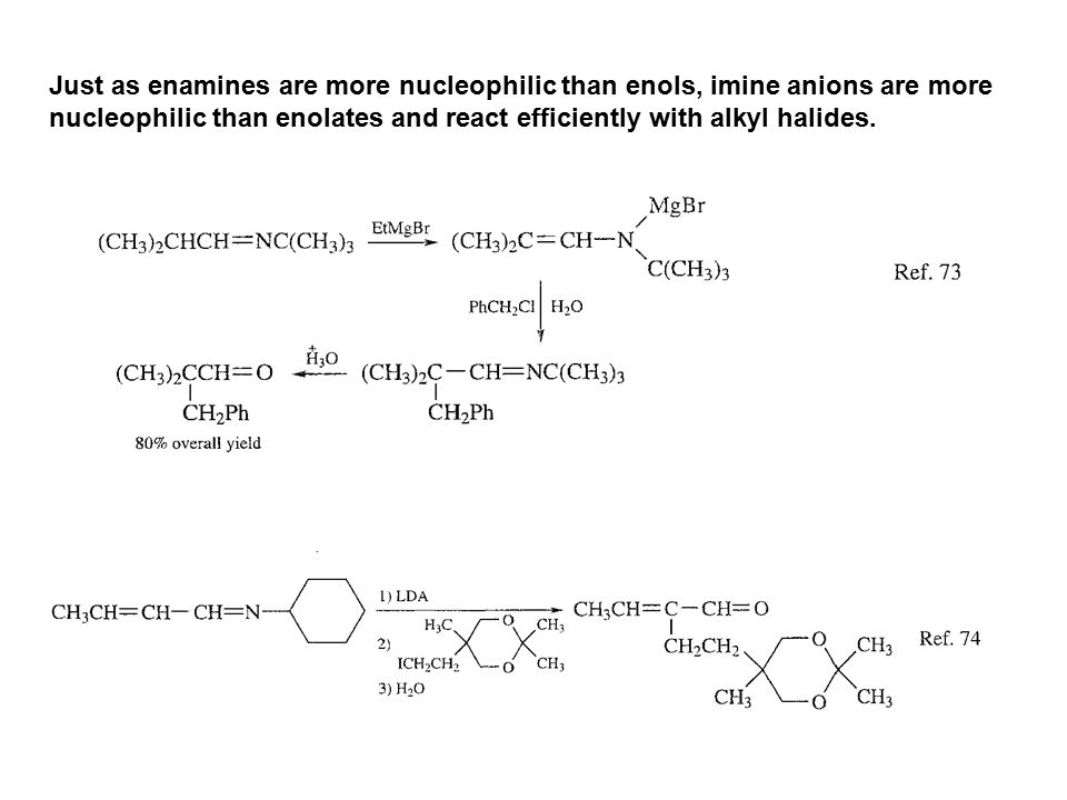 Just as enamines are more nucleophilic than enols, imine anions are more