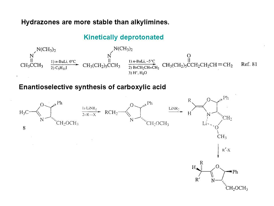 Hydrazones are more stable than alkylimines.