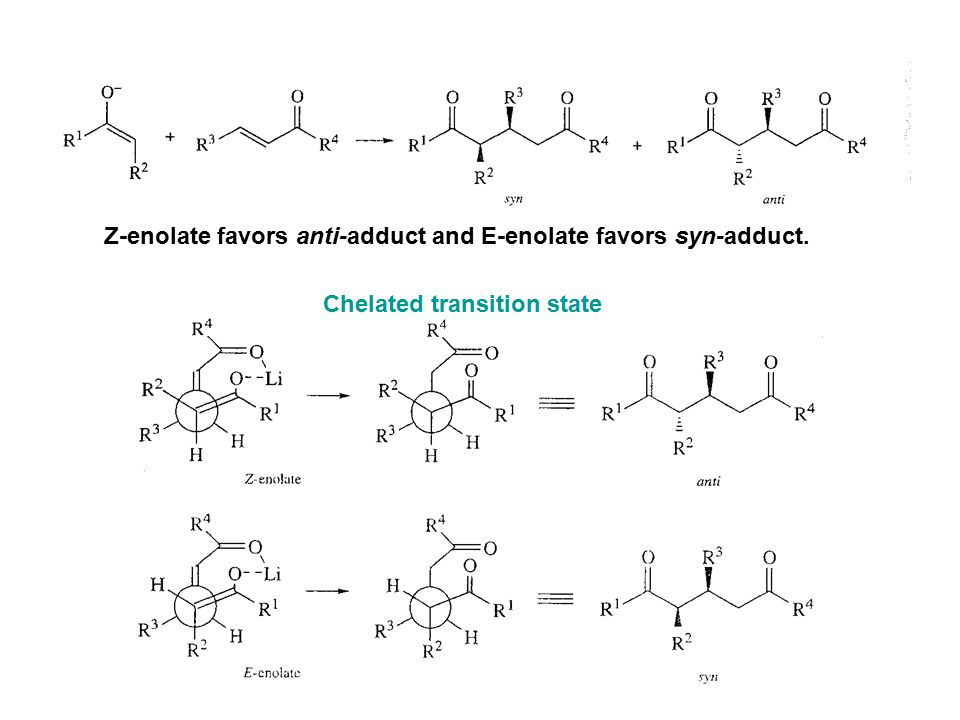 Z-enolate favors anti-adduct and E-enolate favors syn-adduct.