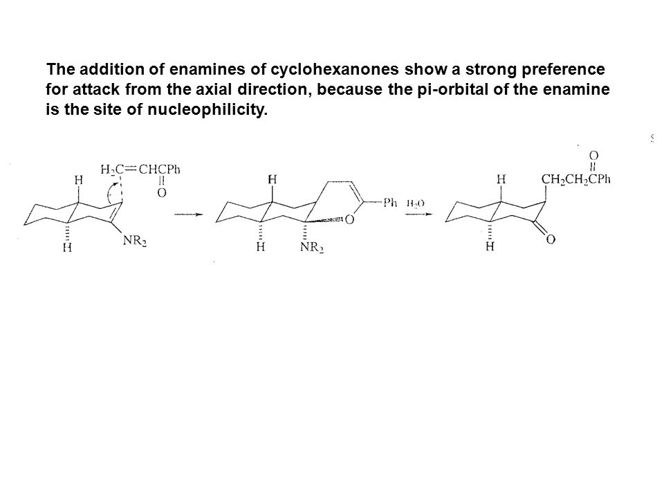 The addition of enamines of cyclohexanones show a strong preference
