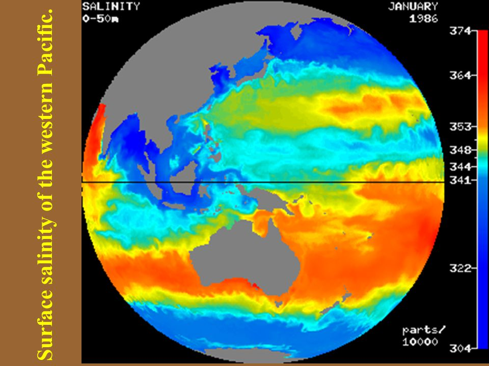 Surface salinity of the western Pacific.