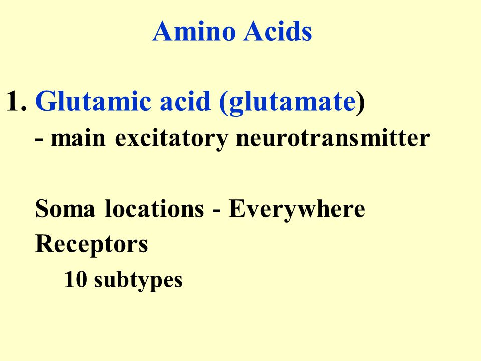 Amino Acids 1. Glutamic acid (glutamate) - main excitatory neurotransmitter. Soma locations - Everywhere.