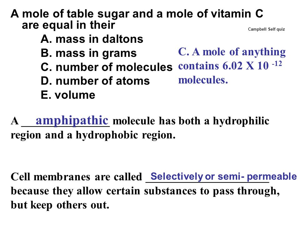 A mole of table sugar and a mole of vitamin C are equal in their