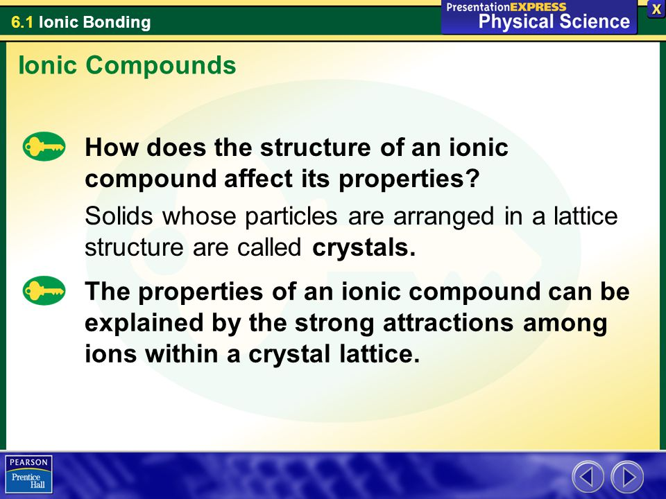Ionic Compounds How does the structure of an ionic compound affect its properties